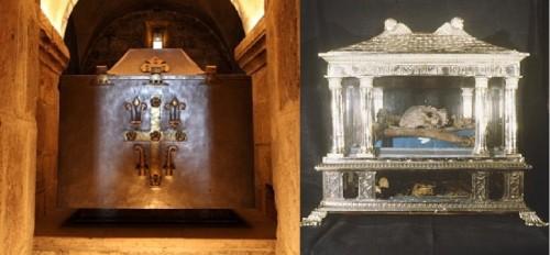 La urna con las reliquias de San Benito conservadas en Fleury y el relicario de Santa Escolástica de Le Mans, ambas en Francia.