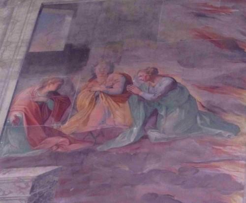 Domitila, Teodora y Eufrosina mueren quemadas en su casa. Basílica de los Santos Nereo y Aquiles, Roma (Italia).