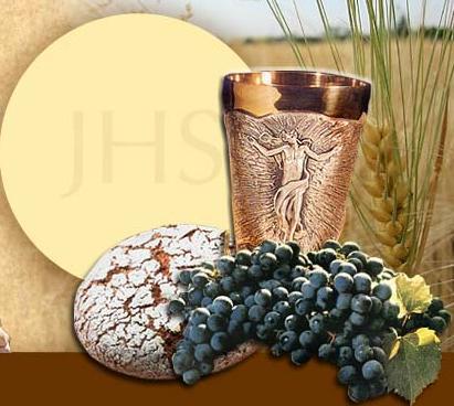 Presentación de la Eucaristía bajo las dos especies: pan y vino.