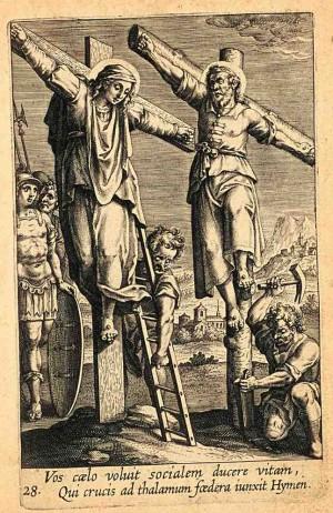 """Martirio de los Santos. Grabado de Adriaen Collaert (1608) para la """"Triumphus Jesu Christi Crucifixi"""" de Bartolomeo Ricci, SJ. Kirishitan Bunko, Sophia University, Tokyo, Japón."""