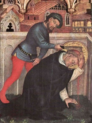 Pedro de Balsamo asesina a San Pedro de Verona. Tabla gótica de Gentile da Fabriano, Políptico de Valle Romita.