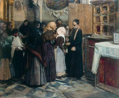 """El beso de la reliquia"", obra del pintor valenciano Joaquín Sorolla (1893)."
