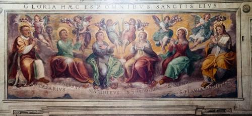 Gloria de los Santos Cesáreo, Nereo, Aquiles, Teodora, Eufrosine y Flavia Domitila. Fresco de Il Pormarancio. Basílica de los Santos Nereo y Aquiles, Roma (Italia).