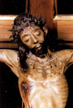 Detalle del busto del Santísimo Cristo de la Morera, venerado en Sumacàrcer, Valencia (España).