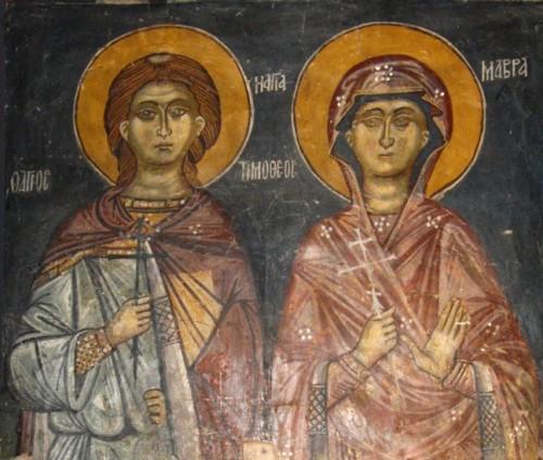Detalle de los Santos en un fresco ortodoxo griego.