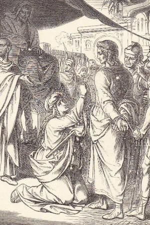 Maura ante Timoteo en el tribunal de Ariano. Grabado contemporáneo para un calendario alemán de Santos.