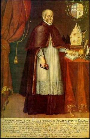 Óleo-retrato barroco del Siervo de Dios en su atuendo episcopal.