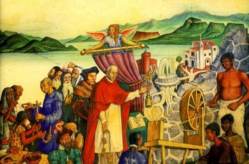 """Vasco de Quiroga implanta la """"Utopía"""" de Tomás Moro. Mural contemporáneo."""