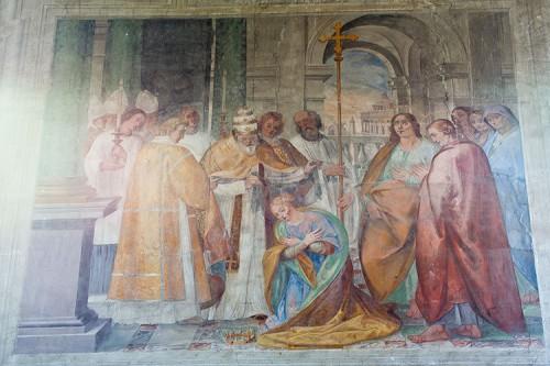 El papa Clemente impone el velo a Domitila en presencia de Nereo y Aquiles. Fresco de Il Pomarancio, Basílica de los Santos Nereo y Aquiles, Roma (Italia).