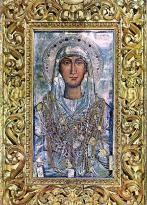 Vista del antiguo icono de Santa Maura venerado en Zakynthos (Grecia), al que se le atribuyen poderes milagrosos.