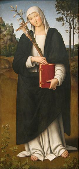 Tabla renacentista de la Santa, obra de Giovanni di Pietro (siglo XVI).