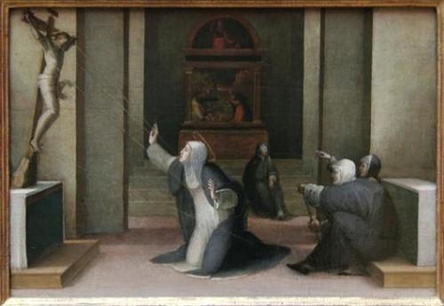 Estigmatización de la Santa. Obra de Domenico Mecarino (siglo XVI).