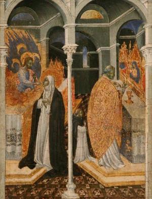 La Santa, recibiendo la comunión de manos de Cristo. Tabla gótica de Giovanni di Paolo di Grazia.