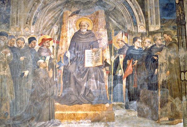 Neri di Bicci (1419-91): Den hellige Johannes Gualbertus på tronen, omgitt av hellige og salige fra Vallombrosa, blant dem de salige Hieronymus og Orlando. Freske i klosteret San Pancrazio i Firenze