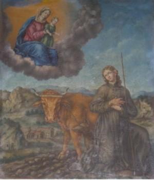San Didier de Langres, cuando aún era labrador, absorto en oración frente a una visión mariana.