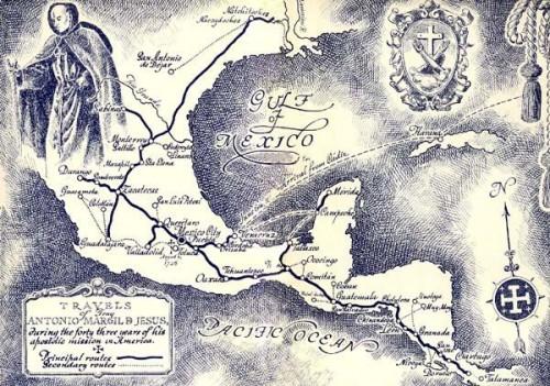 Mapa de los viajes misiones del Venerable Margil de Jesús por Centroamérica y Texas.