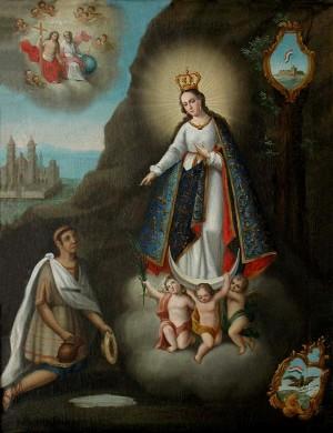 La aparición de Nuestra Señora de Ocotlán a Juan Diego Bernardino y el milagro del manantial.