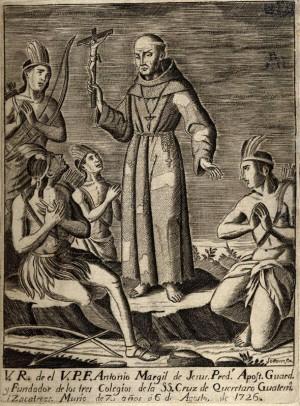 Grabado que representa al padre Margil predicando a los indígenas.