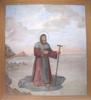 San Alberto de Génova cruza las aguas sobre su manto.