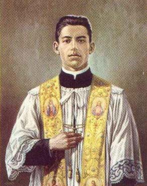 Ilustración del Beato Ángel Darío Acosta, en su atuendo sacerdotal.