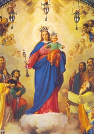 Detalle del lienzo decimonónico que preside la Basílica de María Auxiliadora en Turín, Italia.