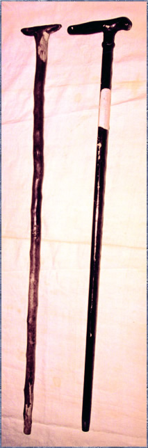 Vista de los dos bastones empleados en vida por el Venerable.