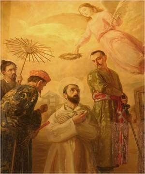 Detalle del martirio del Santo. Óleo de autor desconocido, capilla del Santo en la catedral de Valencia, España.