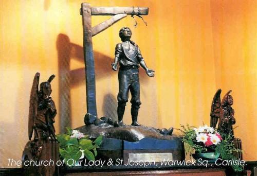 Conjunto escultórico en memoria al martirio del Beato Christopher Robinson, sacerdote. Iglesia de Ntra. Sra. y San José, Warwick, Carlisle (Inglaterra).