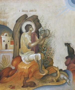 icono ortodoxo griego de David tocando la lira.