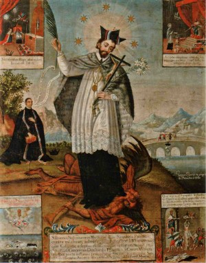 Óleo barroco del Santo, con su principal iconografía y escenas de su leyenda. Museo de Arte de Filadelfia, Estados Unidos.