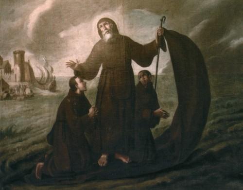 San Francisco de Paula, acompañado de dos discípulos, navega sobre su manto hacia Milazzo.