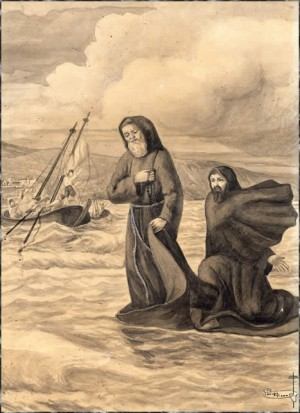 El Venerable cruza el estrecho de Mesina sobre su manto.