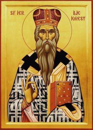 Icono ortodoxo rumano de San Ilia Iorest, obispo de Transilvania (Rumanía).