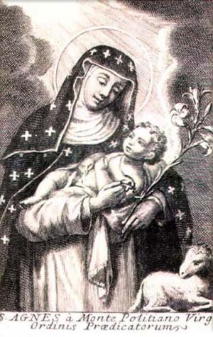"""""""Santa Inés del Monte Policiano, virgen de la Orden de Predicadores"""". Grabado barroco para una serie de santos dominicos."""