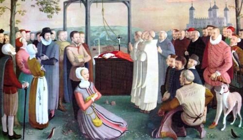 Los Cuarenta Mártires de Inglaterra y Gales, católicos. La horca identifica a los que murieron ahorcados. Lienzo de Daphne Pollen.