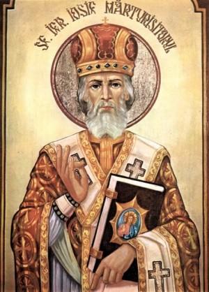 Icono ortodoxo rumano de San José de Maramures, obispo  de Transilvania.