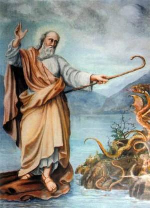 San Julio de Novara navegando sobre su manto en la isla de Orta. Ilustración contemporánea.