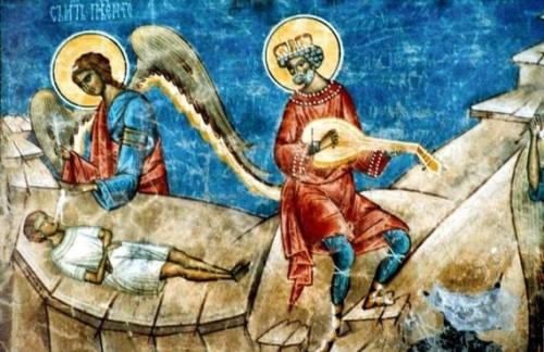 El rey David cantando los Salmos. Fresco ortodoxo griego.