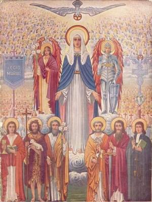 Mosaico contemporáneo de la Legión de María con sus santos patronos.