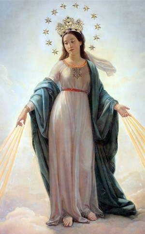 """""""Madonna del Miracolo"""", óleo de Domenico Bartolini (1813-1887) que conmemora la conversión de Alfonso Ratisbone ante una aparición de la Inmaculada. Basílica de San Andrea delle Fratte, Roma (Italia). Fotografía: K. Drake, 2006."""