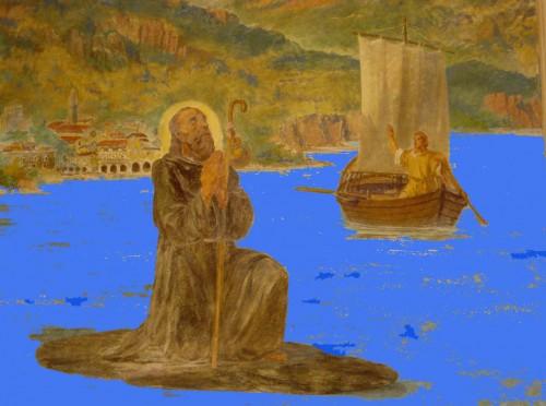 Pintura contemporánea de San Miro, eremita de Canzo, navegando sobre su manto en el lago.