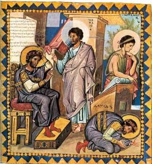 Natán reprende a David por su adulterio con Betsabé. Iluminación griega de un salterio bizantino.