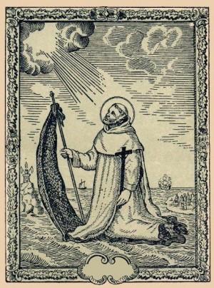 Grabado contemporáneo de San Raimundo de Peñafort cruzando el mar sobre su manto.