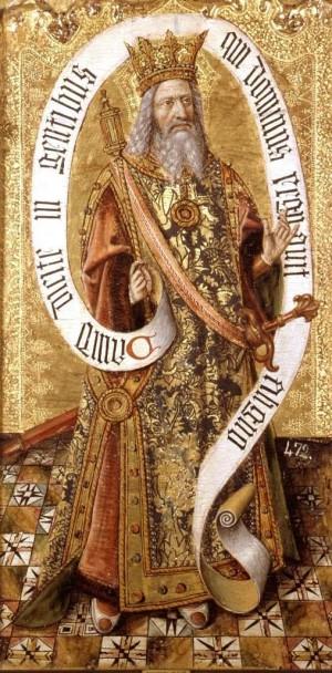 Tabla gótica flamenca del Santo en su atuendo real.