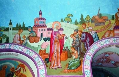 La Santa distribuyendo su comida entre los pobres. Fresco ortodoxo en el convento de la Trinidad de Murom, Rusia.
