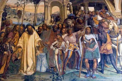 San Benito recibe a Mauro y a Plácido en Subiaco, por Giovanni Antonio Sodoma, Abadía de Monte Oliveto.