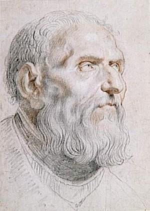 Dibujo-retrato del Santo a lápiz negro  y rojo sobre papel, obra de Pedro Pablo Rubens.