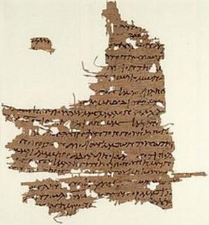 Fragmento del Evangelio de María Magdalena encontrado en Oxyrhynchus, Egipto; 1860.