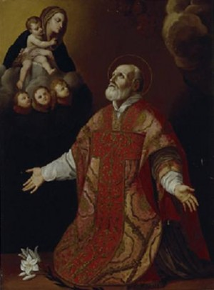 Pintura del Santo existente en la iglesia de la Santa Cruz, Paulmy (Francia). Obra de Touraine (s. XVII).