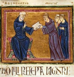 San Benito entrega la Santa Regla a San Mauro.